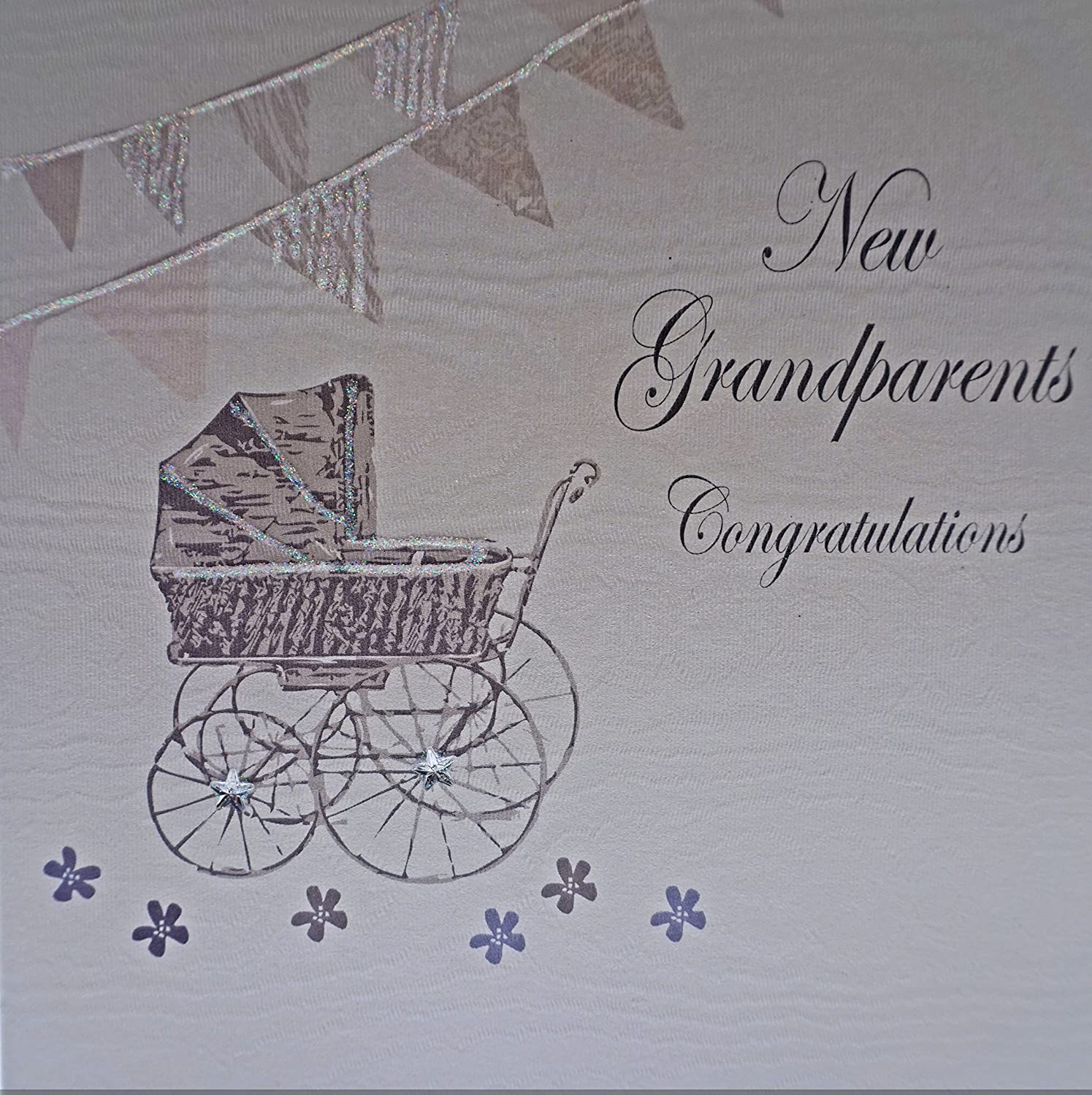 White cotton cards new great grandparents congratulations blue white cotton cards new grandparents congratulations handmade baby card white kristyandbryce Choice Image