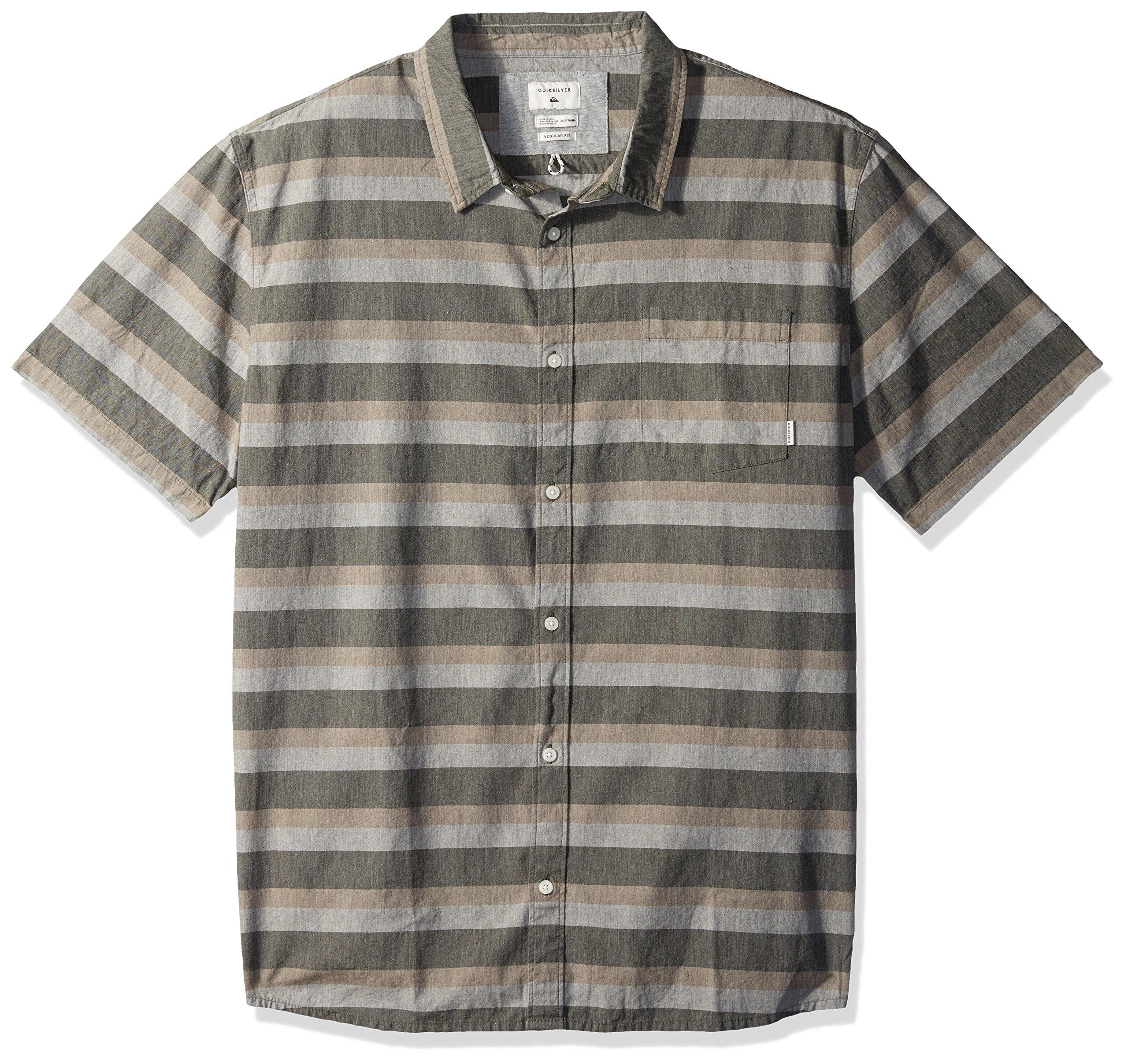 Quiksilver Men's Tama Kai Button Down Shirt, Plage Tama Kai Stripe, S