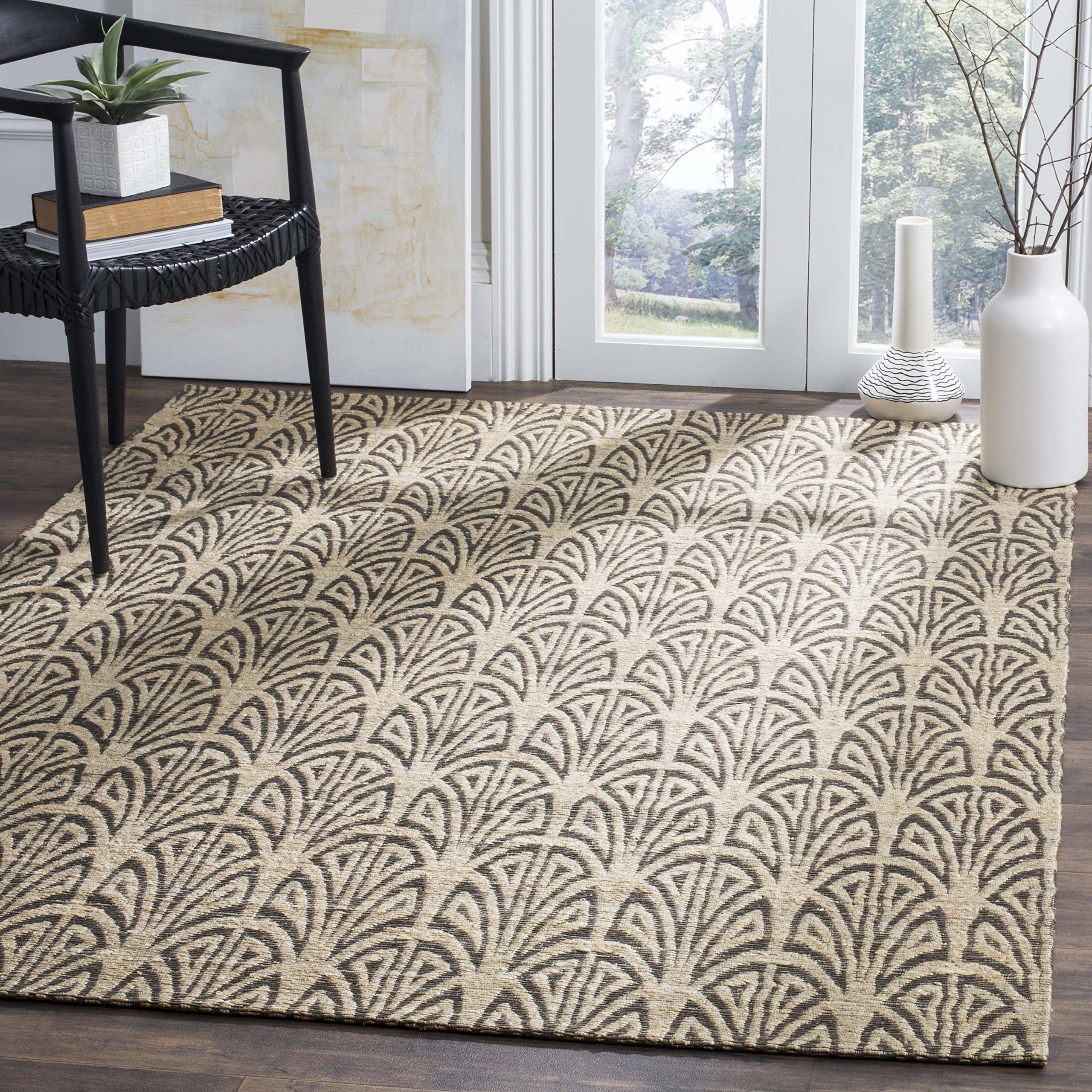 Safavieh CAP501B-5 Cape Cod Collection Flat Weave Handmade Area Rug, 5' x 8', Light Beige/Grey by Safavieh