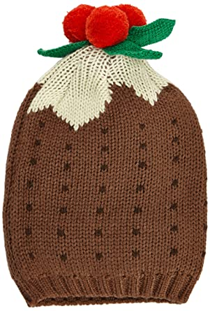 f34ed77bde86e1 The Christmas Workshop Unisex Christmas Pudding Beanie Hat, Brown ...