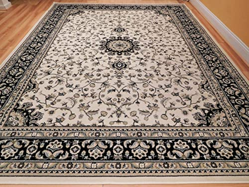 New Traditional Area Rugs 8×10 Ivory Black Border Cream Persian Style Rug