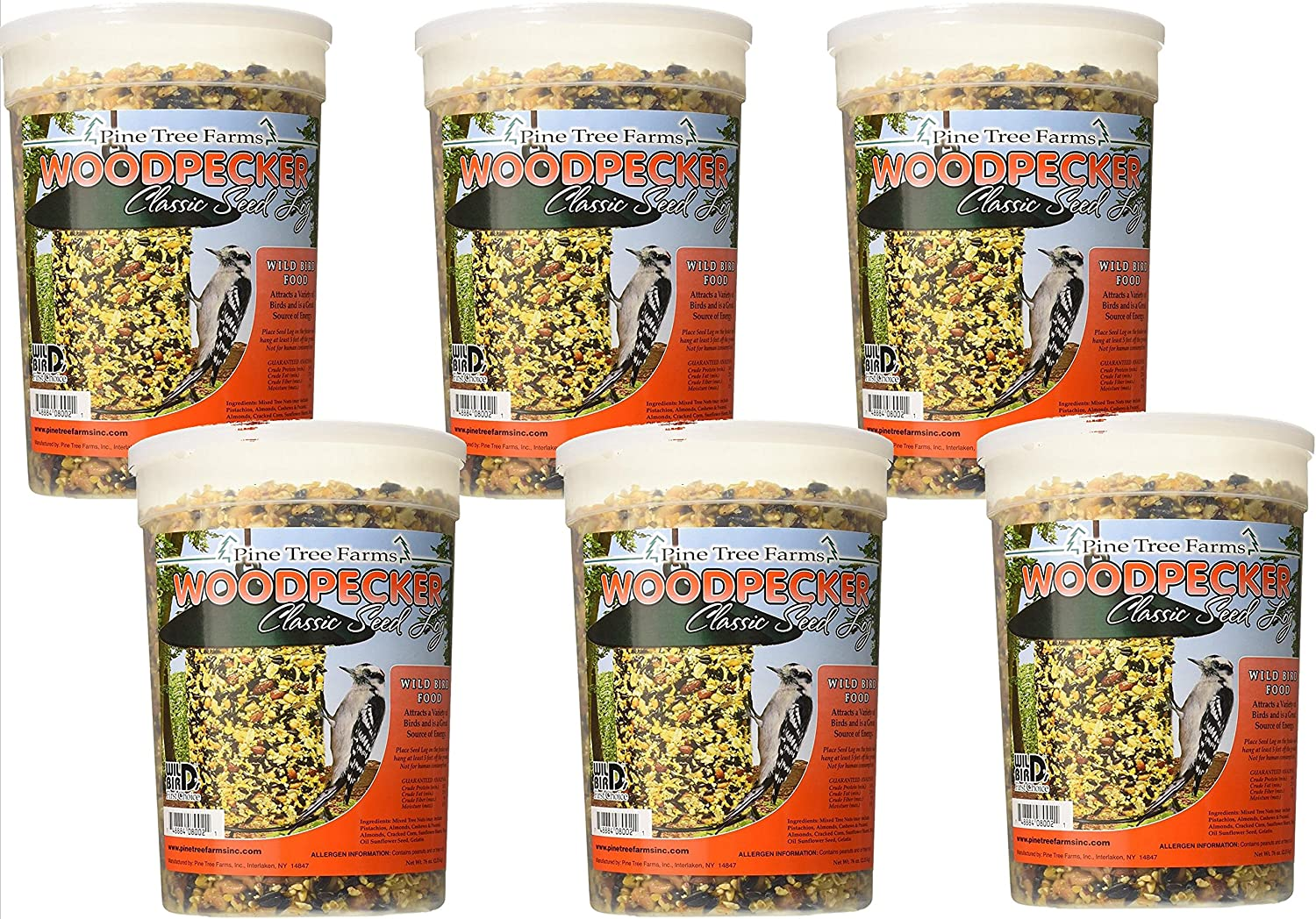 6 Pack Pine Tree Farms Woodpecker Seed Log 5 LB 8002 Made in USA
