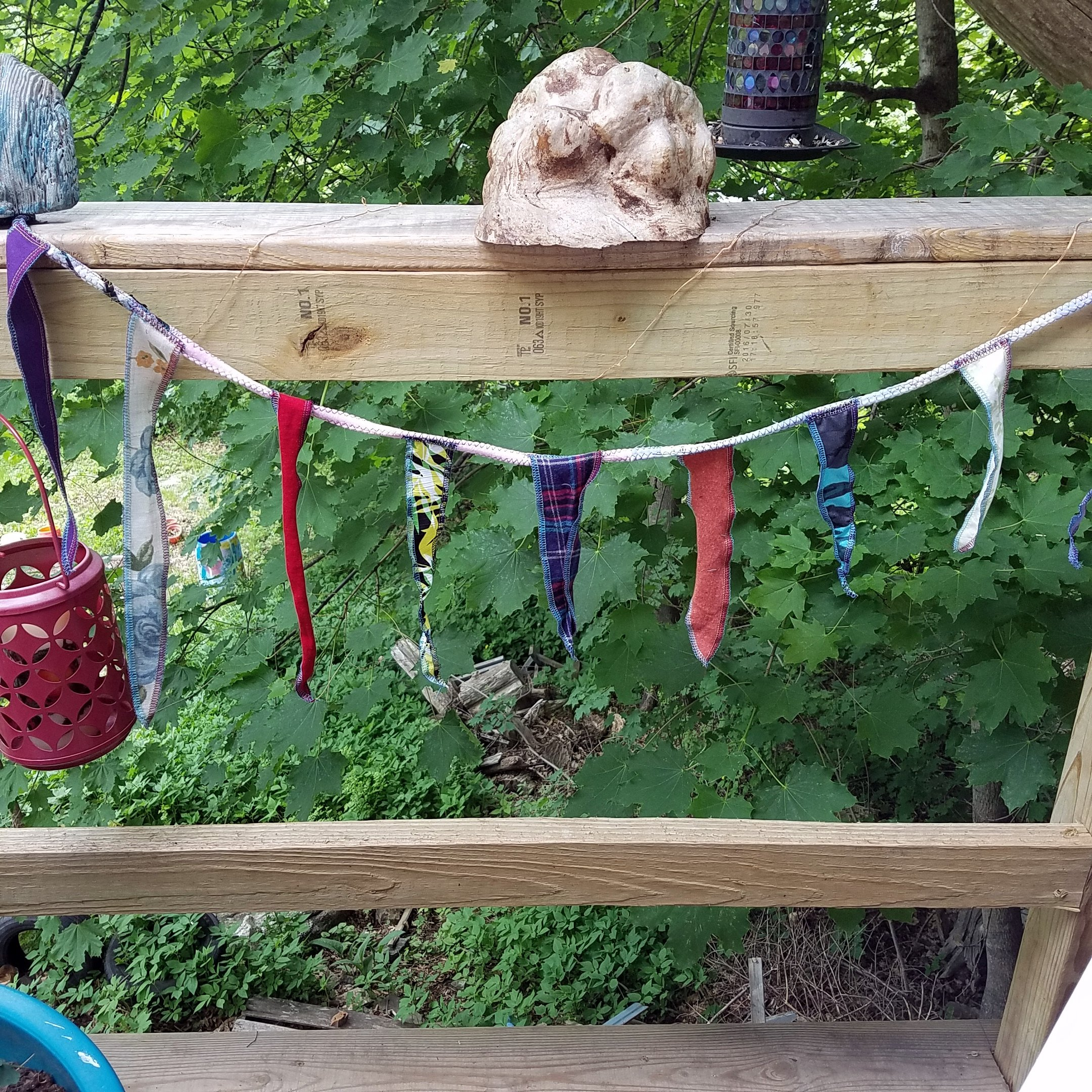 Handmade Gypsy Banner, Triangle Hippie Flags, Fabric Rag Garland, Bohemian Decor