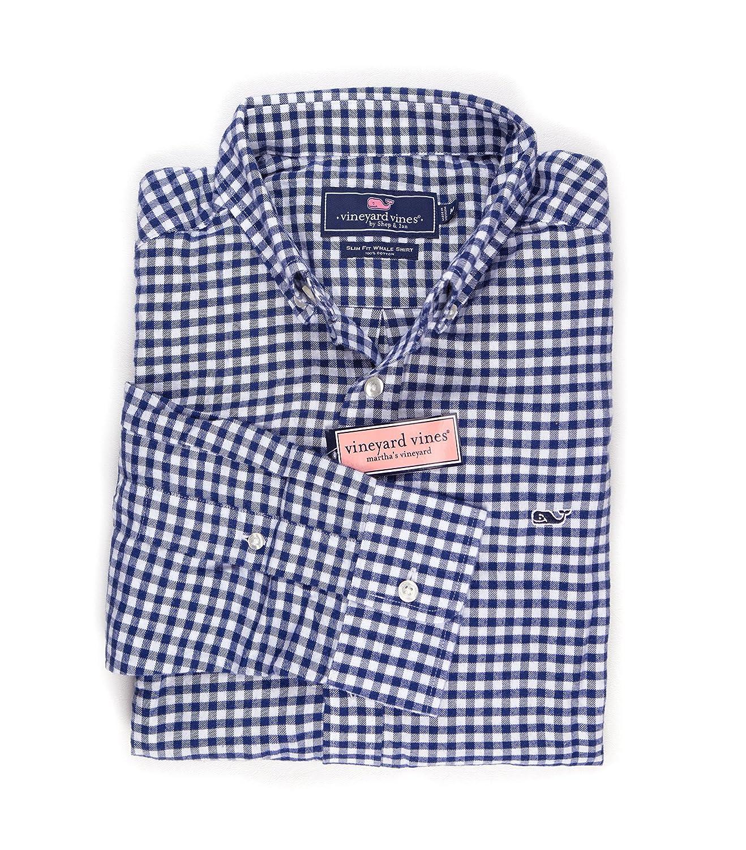 (ビンヤードバインズ) Vineyard Vines メンズ ボタンダウンドレスシャツ スリムフィット B077LFDCCJ L|Baltic Blue Fireside Gingham Baltic Blue Fireside Gingham L
