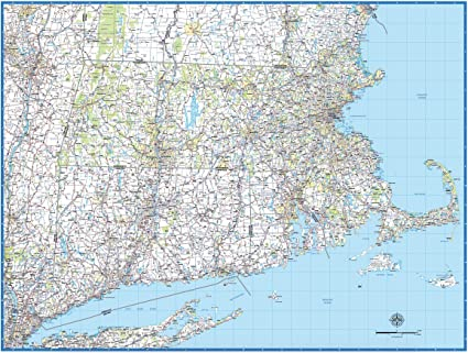 Amazon.com : Southern New England Laminated Wall Map : Office Products