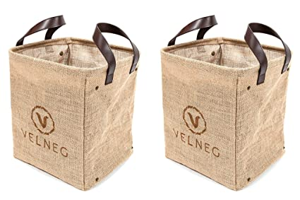 Velneg Jute Cube Storage Bins Basket Containers 2 Pack, Waterproof /  Collapsible, Small Laundry