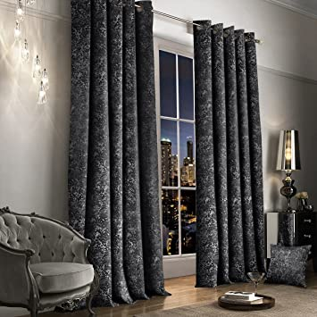 Luxury Thermal Crushed Velvet Charcoal Dark Grey Ringtop Pair Of Curtains 46 Wide X 54 Drop Amazoncouk Kitchen Home