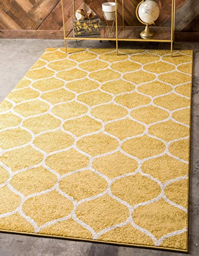 Unique Loom Trellis Frieze Collection Lattice Moroccan Geometric Modern Yellow Area Rug 4' 0 x 6' 0
