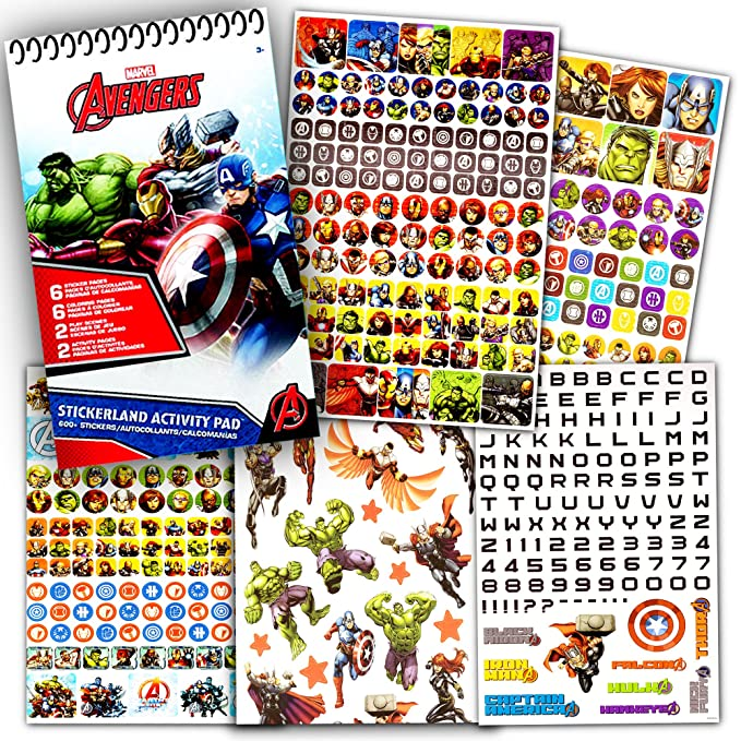 Amazon Marvel Avengers Coloring Book And Over 500 Stickers Captain America Thor The Hulk Iron Man Party Supplies Toys Games