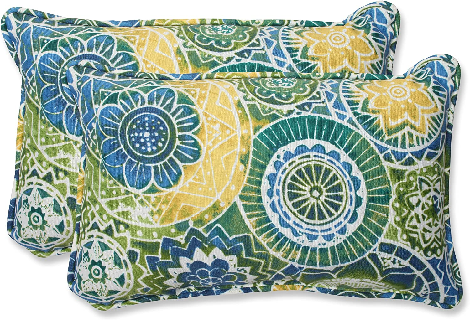 Pillow Perfect Rectangular Throw Pillow, Omnia Lagoon, Set of 2