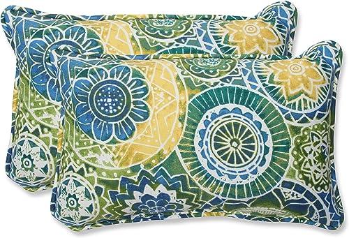 Pillow Perfect Rectangular Throw Pillow, Omnia Lagoon, Set of 2