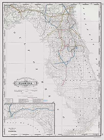Florida Railroad Map.Amazon Com Old Railroad Map Florida State Railway And Counties