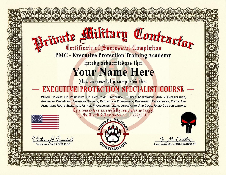 Amazon Private Military Contractor Diploma Certificate