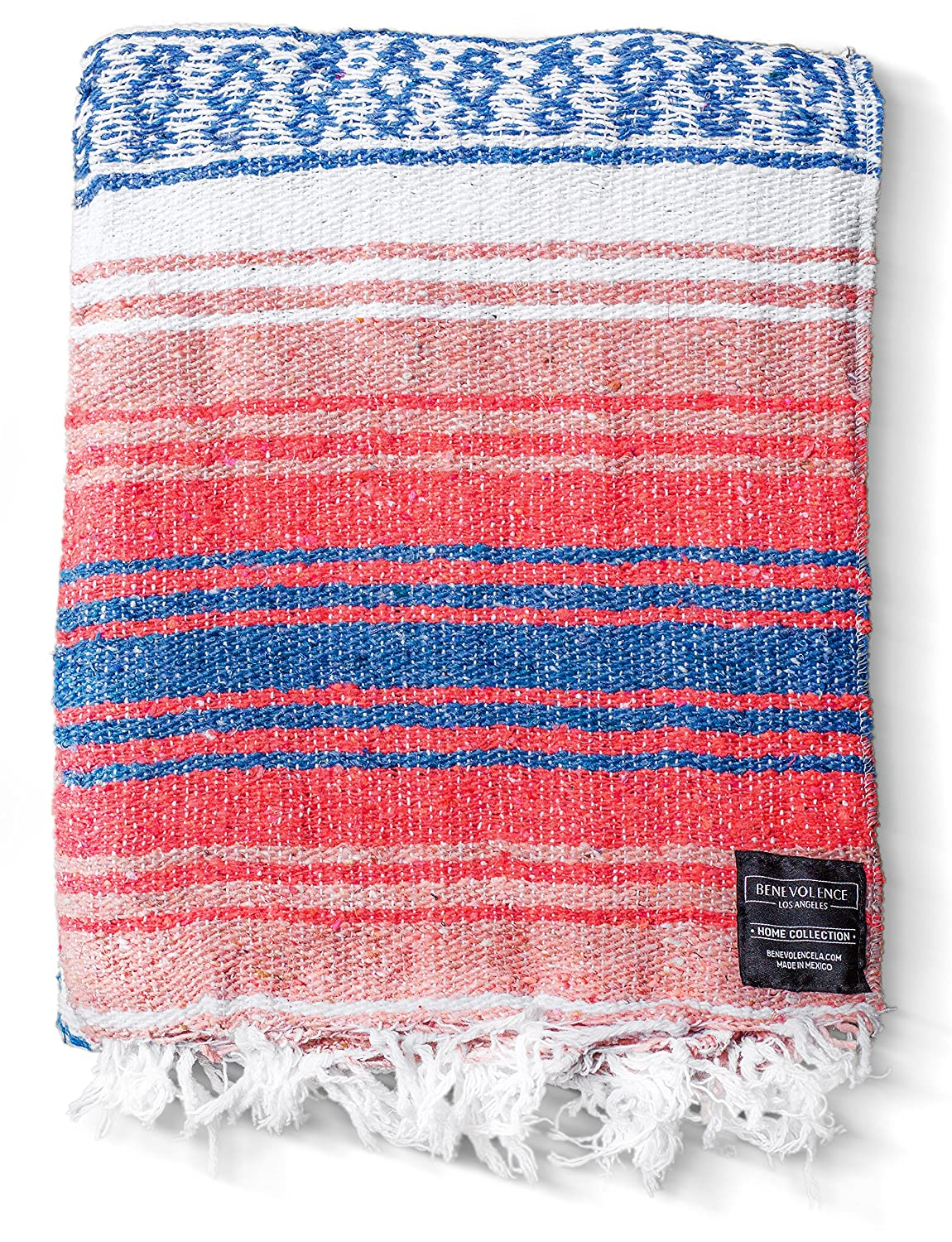 Authentic Falsa Thick Soft Woven Acrylic Yoga Serape or as Beach Throw Picnic Hiking Mint Travel Gray Sand Camping Adventure Blankets in Pink Sky Blue Pillow Mexican Blanket