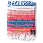 Mexican Blanket: Authentic Falsa Blankets Thick Soft Woven Acrylic for Yoga or as Beach Throw, Picnic, Camping, Travel, Hiking, Adventure Pink Blue (Coral)
