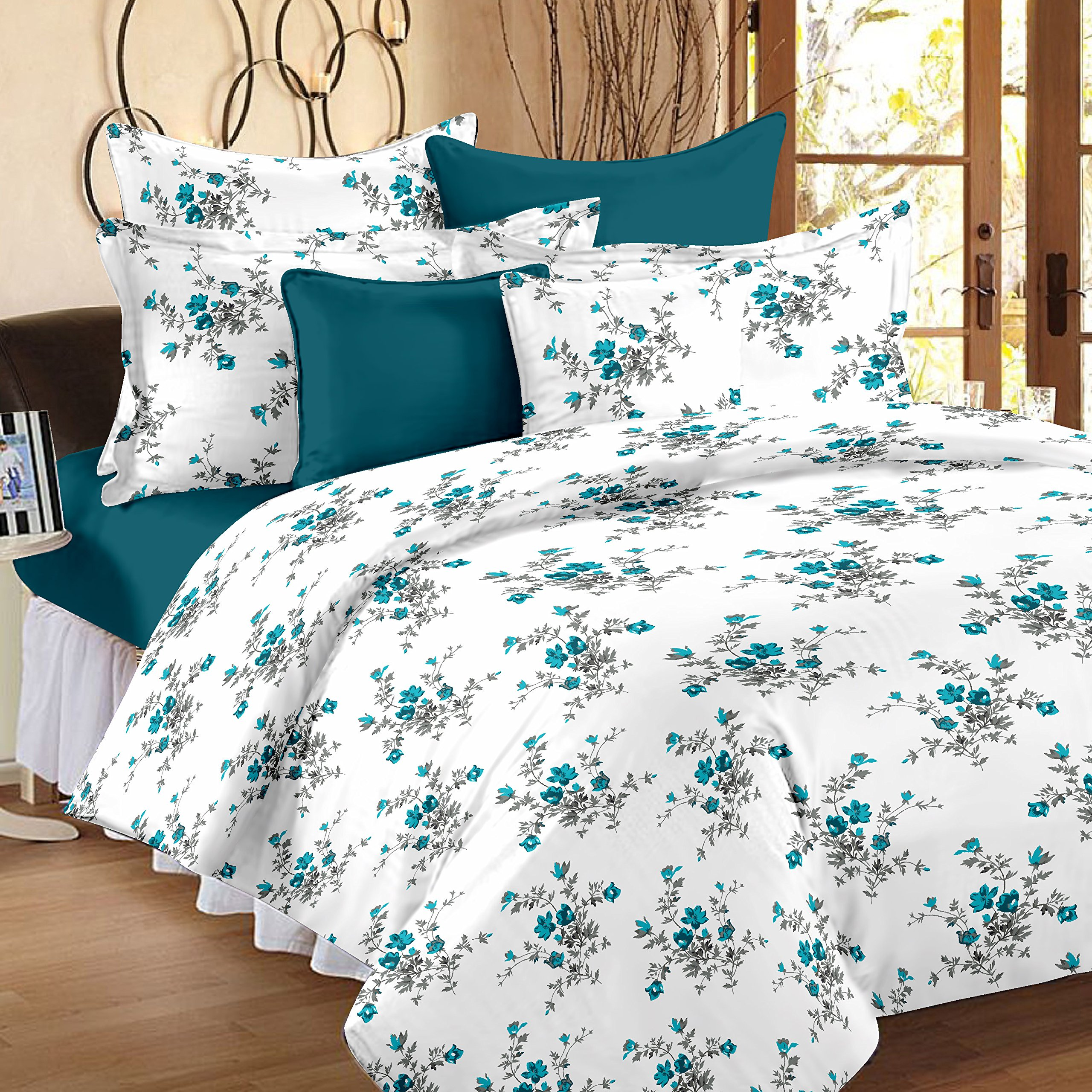Ahmedabad Cotton Comfort 160 TC Cotton Single Bedsheet with Pillow Cover - Blue product image