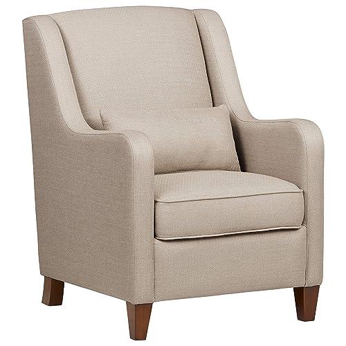 Ravenna Home Radford Modern Curved Arm Accent Chair, 28.15 W, Beige