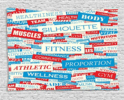 amazon com ambesonne fitness tapestry collage of words physical