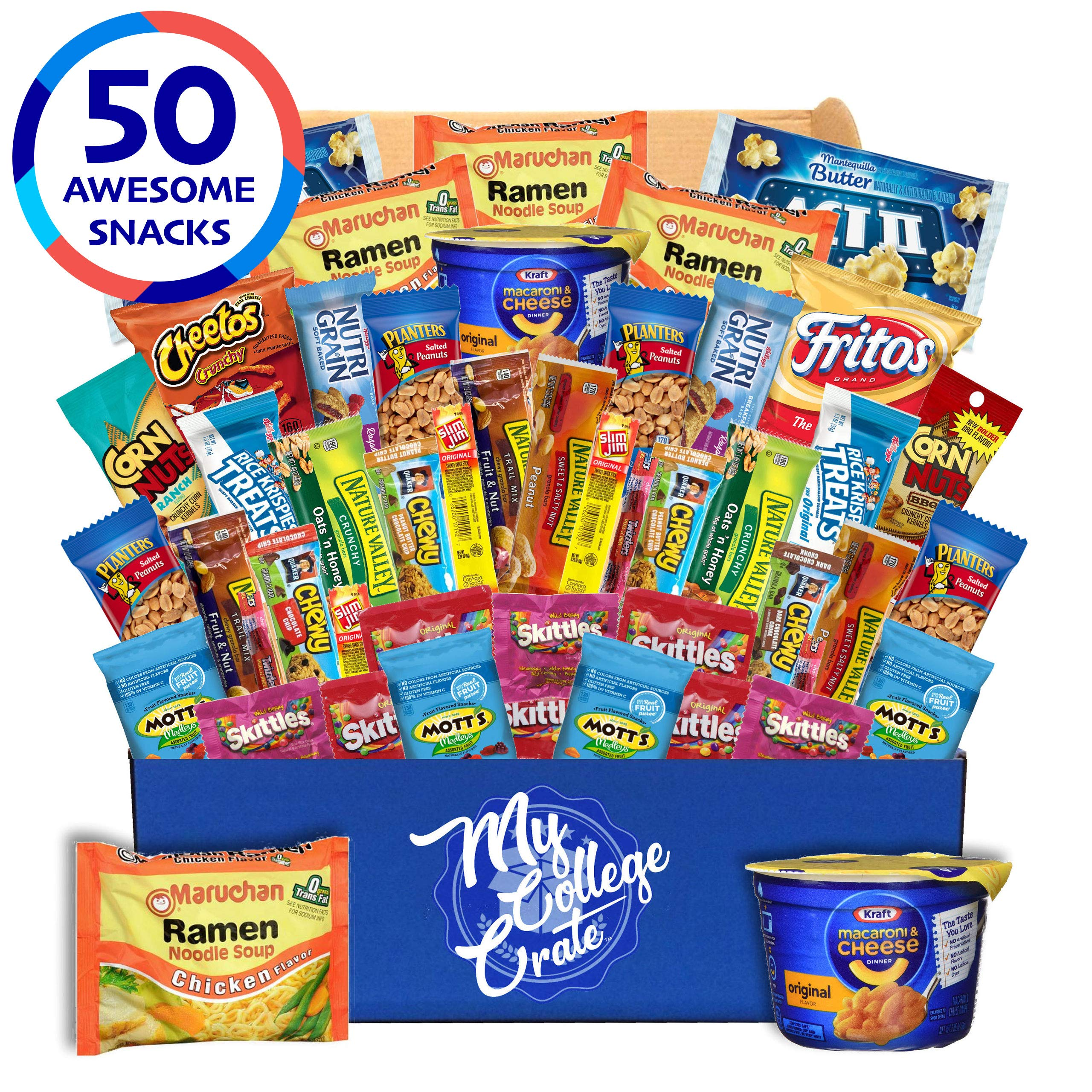 My  College  Crate   Microwave  Snack Care Package -  50 Piece  Bulk Variety Pack Box for Adults  and  Kids  with Ramen  Mix ,  Popcorn, Mac n Cheese, Assorted Chips, Granola Bars and Candy by My College Crate (Image #1)