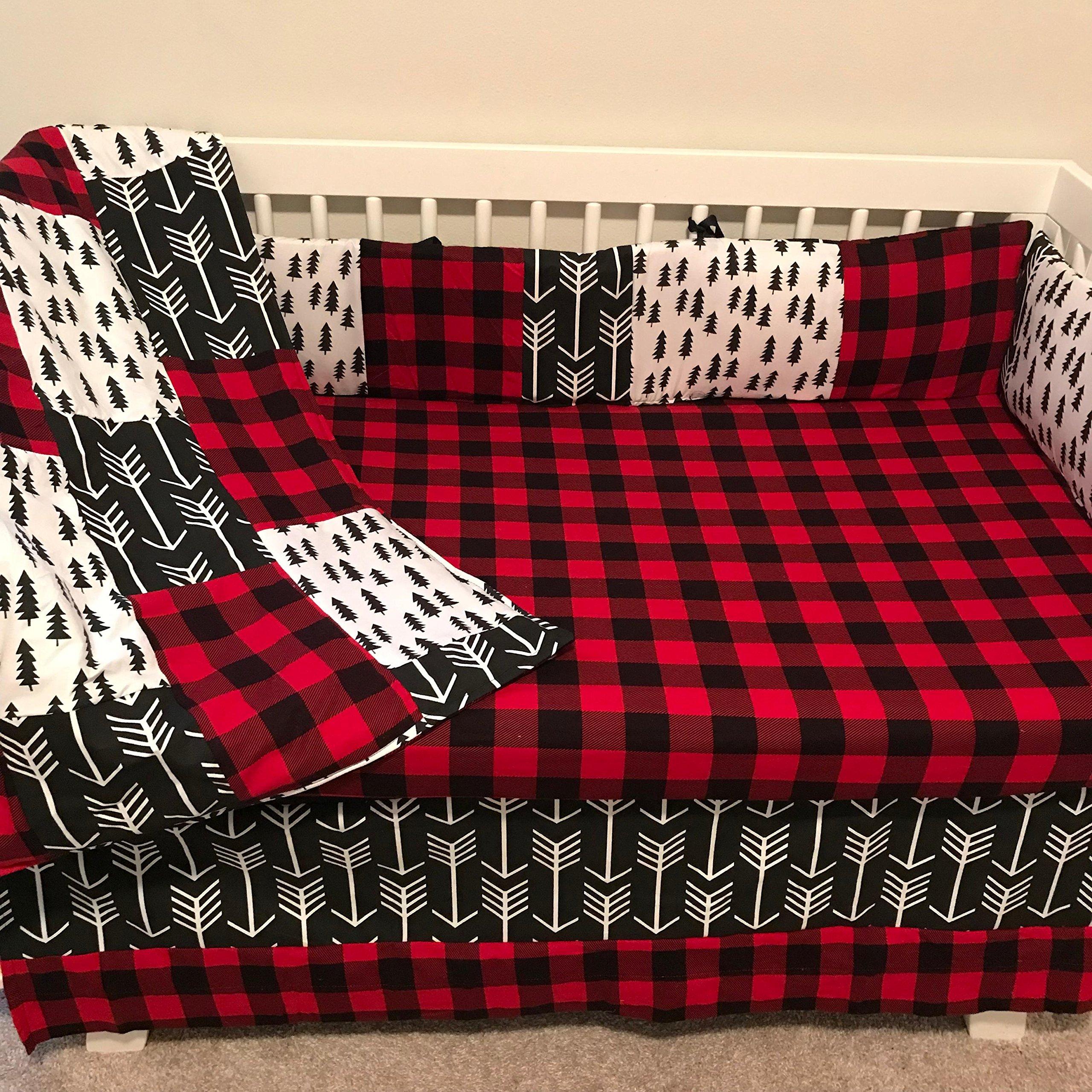 AllTot Crib Bedding Set-Woodland Red- 4 Piece crib bedding set