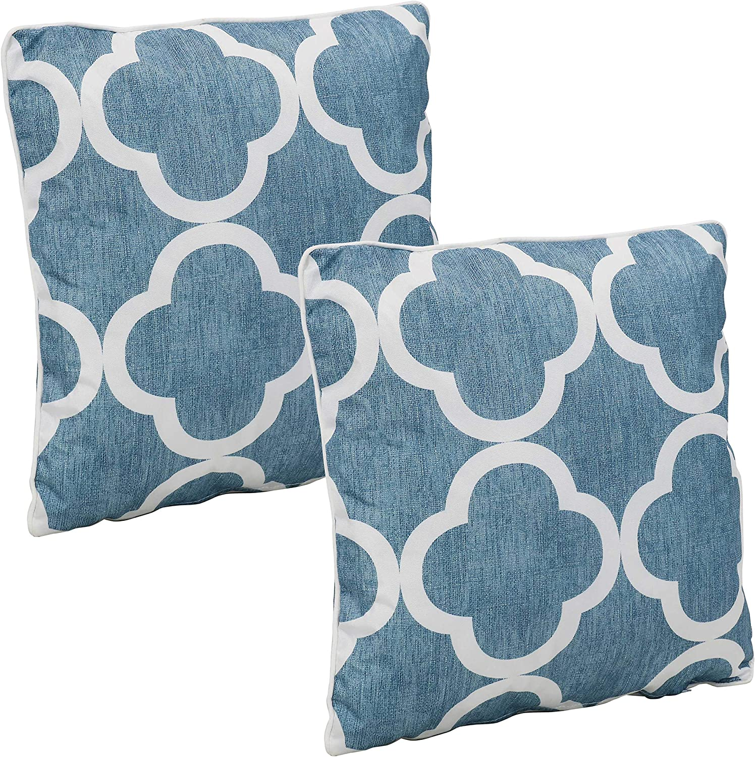 Sunnydaze Set of 2 Indoor/Outdoor Decorative Throw Pillows - 16-Inch Square Accent Toss Pillows for Patio Furniture - Pillow Set for Outside Bench, Chair and Loveseat - Blue and White Quatrefoil