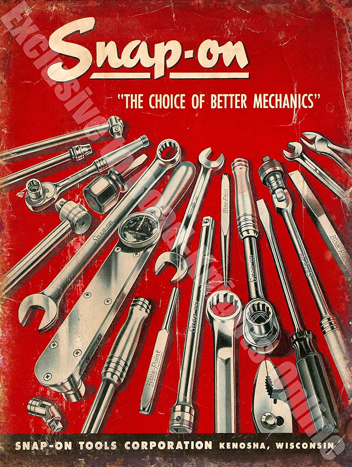 """Snap On Tool /""""The Chocie of better Mechanics/"""" Vintage Look Reproduction Tin Sign"""