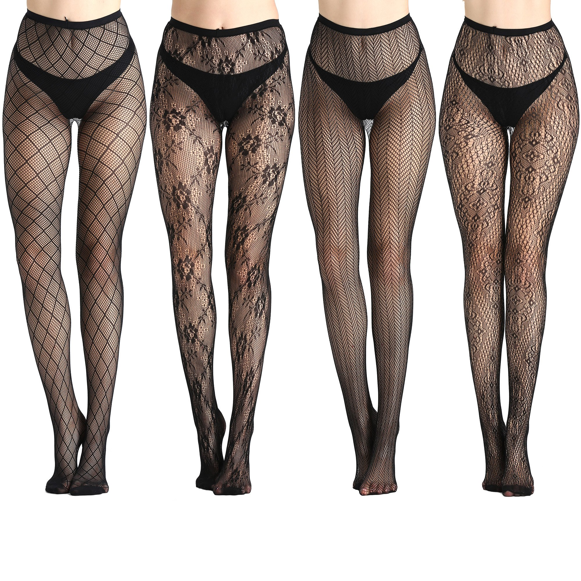 Joyaria Womens Sexy Tights Fishnet Stockings Lace Pantyhose Black 4 pack, Black 2