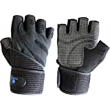 Noova Microfiber Full Palm Protection Weight Lifting Gym Gloves for Men and Women with Wrist Support Wraps