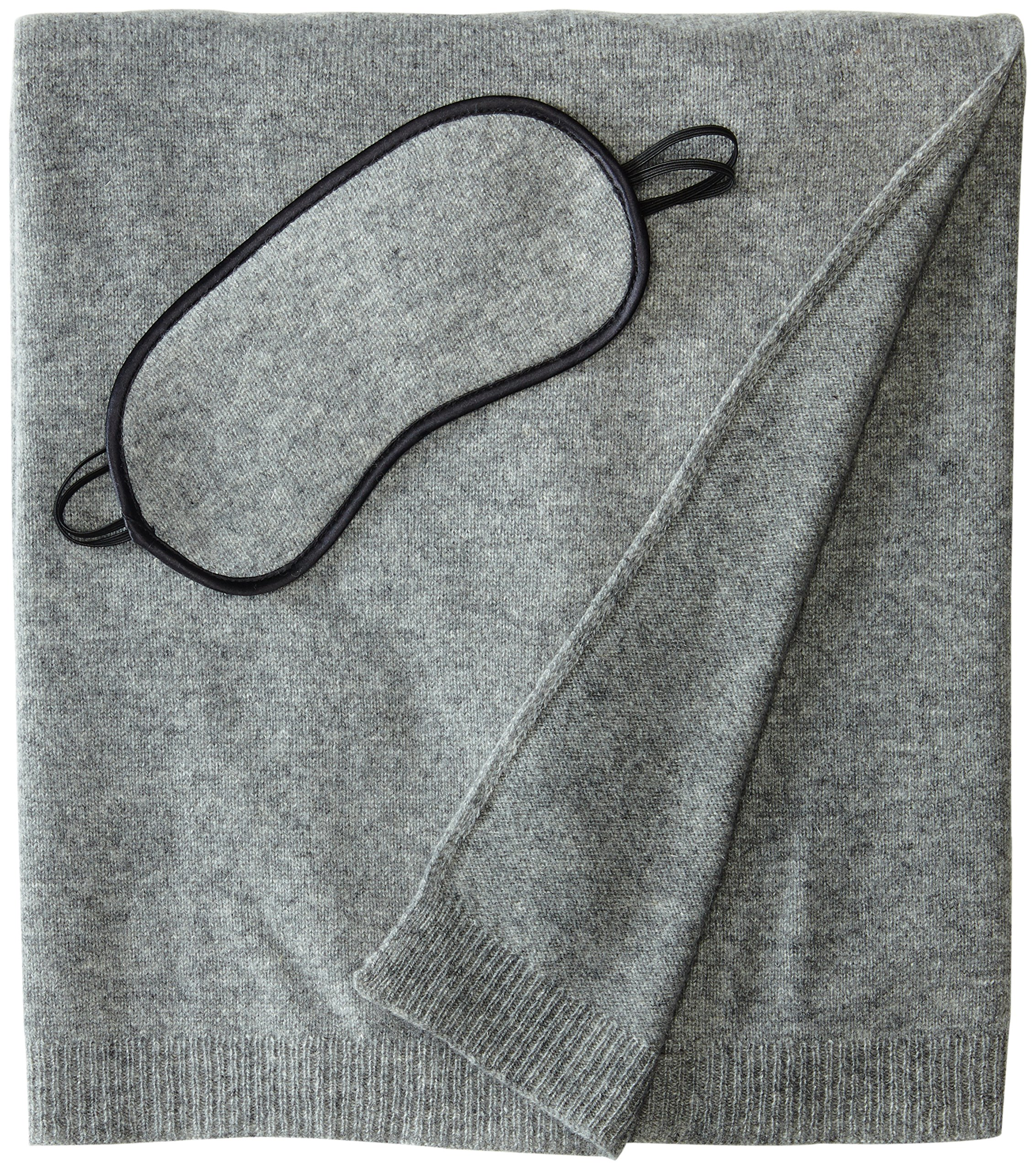 Sofia Cashmere 100% Cashmere Cozy Travel Set with Blanket, Eye Mask, and Bag, Grey, One Size
