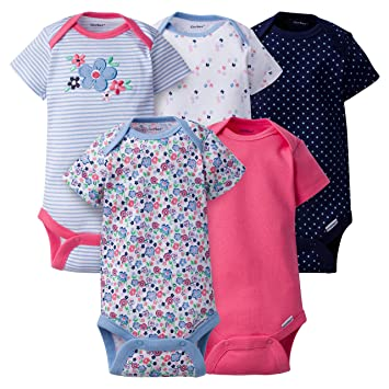 0a568539ea1e Amazon.com   Gerber Clothing Baby Girls 5 Pack Variety Onesies ...