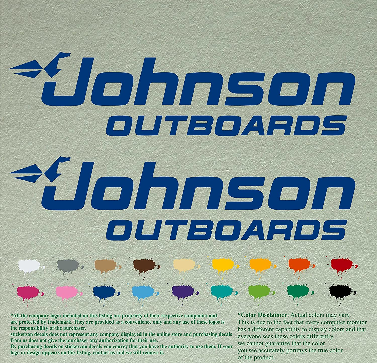 """Pair Johnson outboards Decals Vinyl Stickers Vinyl Stickers Boat Outboard Motor Lot of 2 (12"""", Blue 067)"""