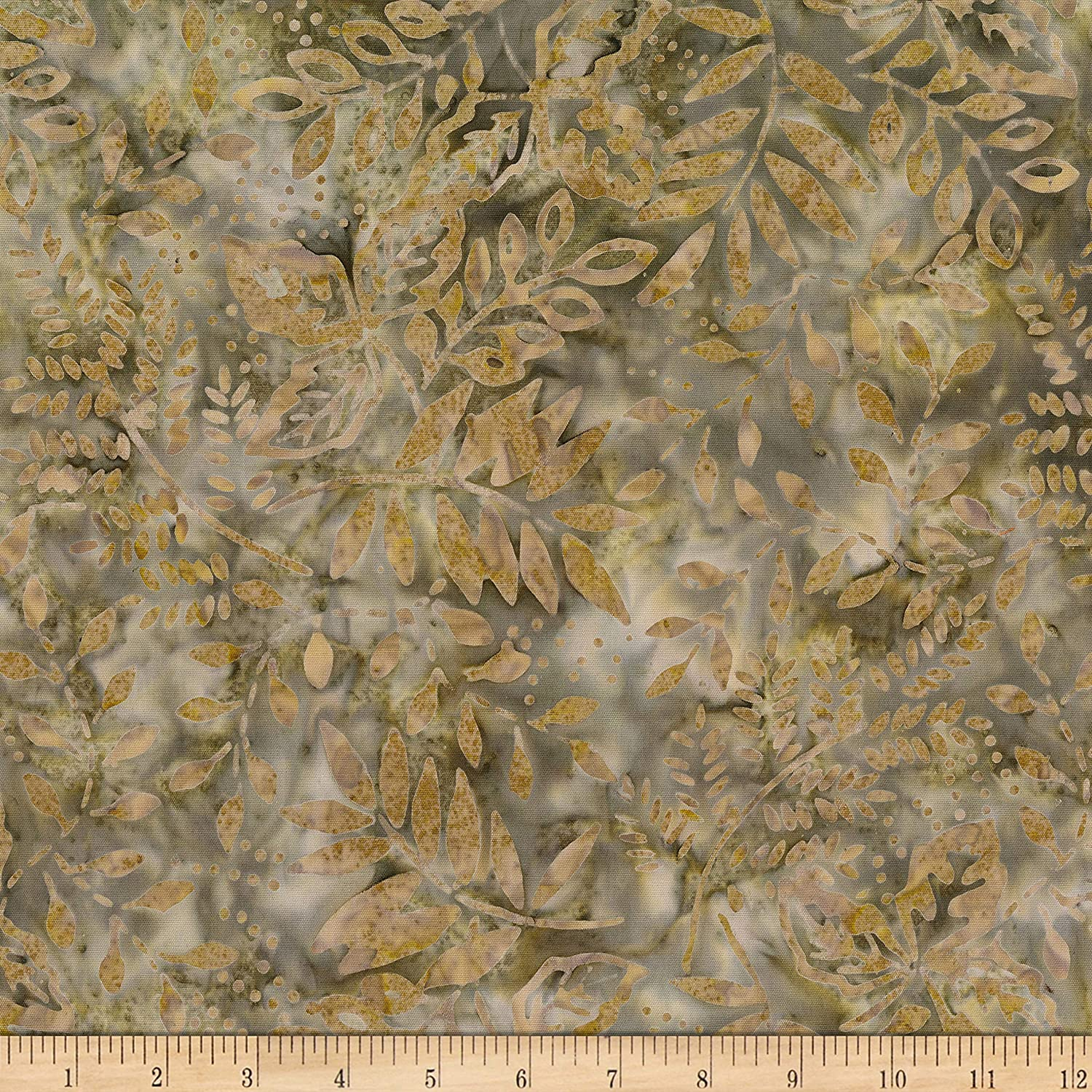 Banyan Batiks Painted Leaves Multi Leaf Fill Sage Fabric by the Yard
