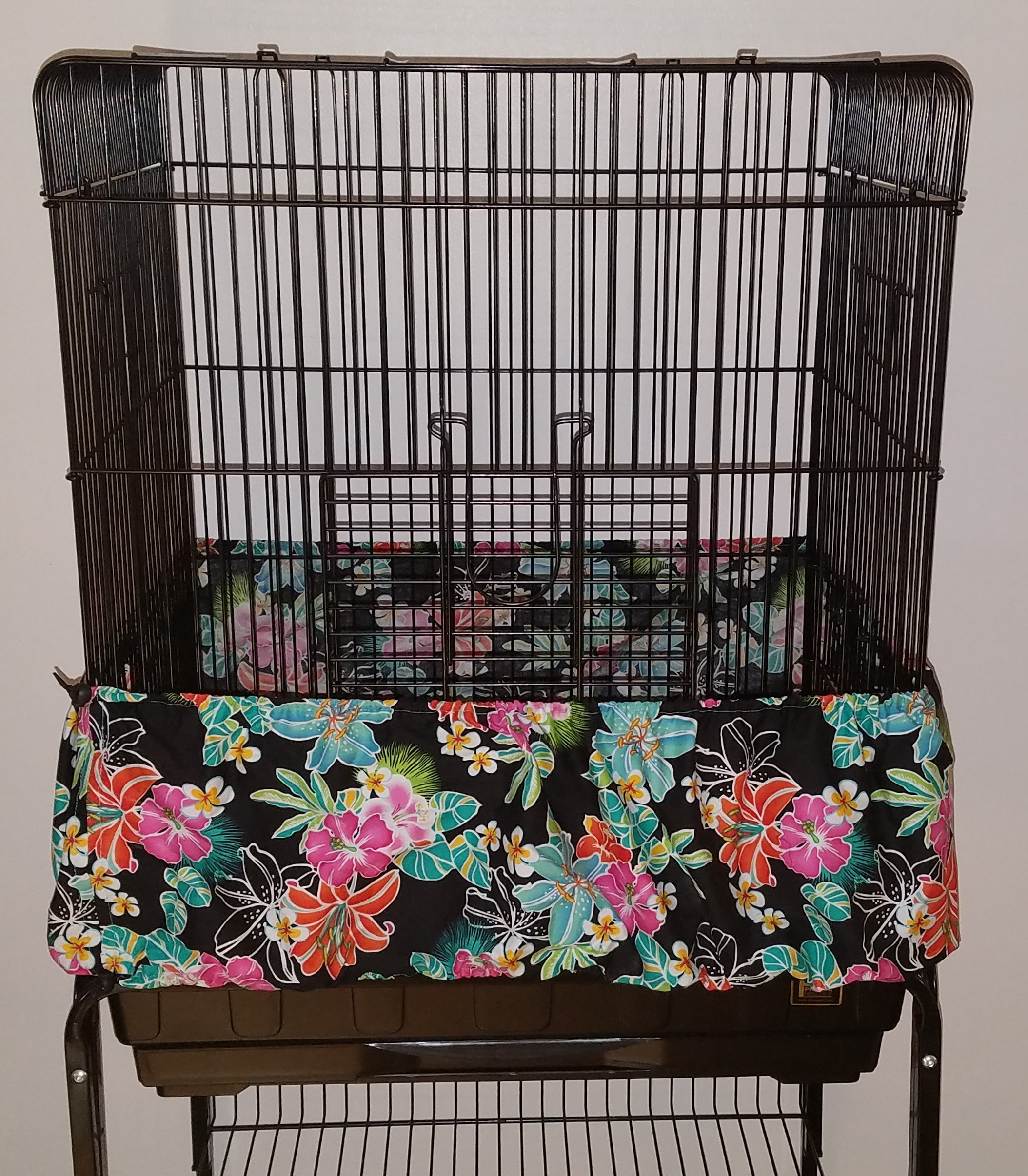 Penn Seed Seed Guard and Catcher Bird Cage Skirt - Hibiscus Lily, Medium (44''-88'' Cage Circumference)
