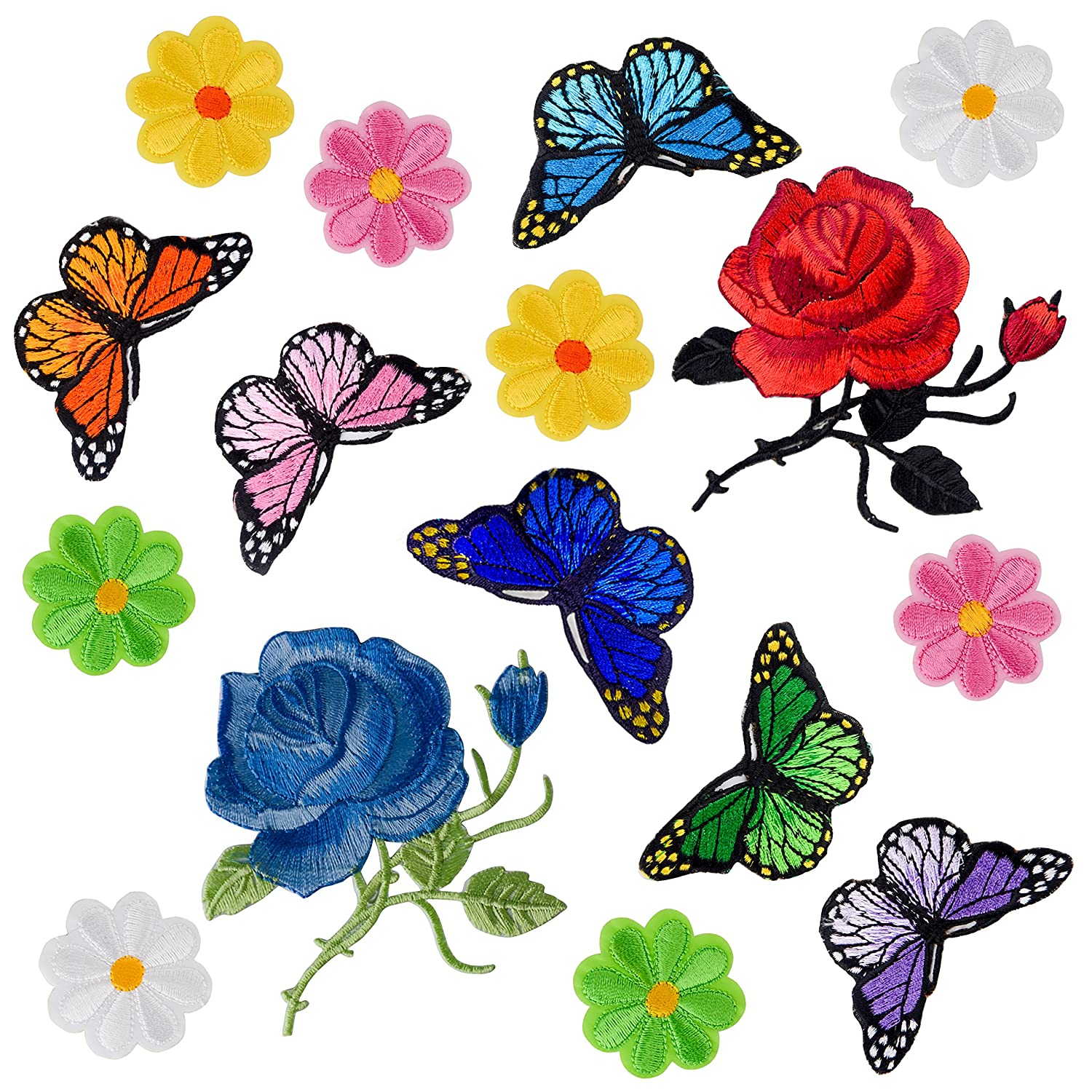 Coopay 16 Pieces Flowers Butterfly Iron on Patches Embroidery Applique Patches for Arts Crafts DIY Decor, Jeans, Jackets, Clothing, Bags 4337017958