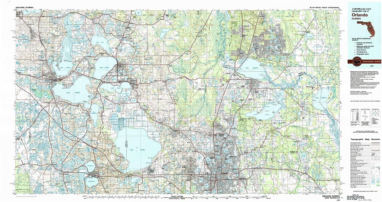Topo Map Florida.Amazon Com Yellowmaps Orlando Fl Topo Map 1 100000 Scale 30 X 60