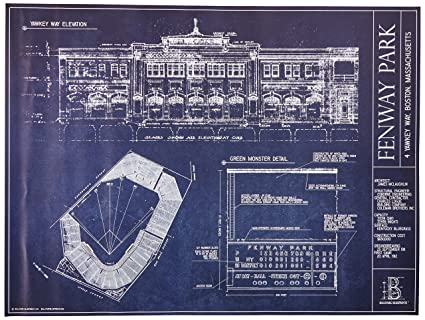 Amazon fenway park blueprint print ballpark blueprint posters fenway park blueprint print malvernweather Image collections