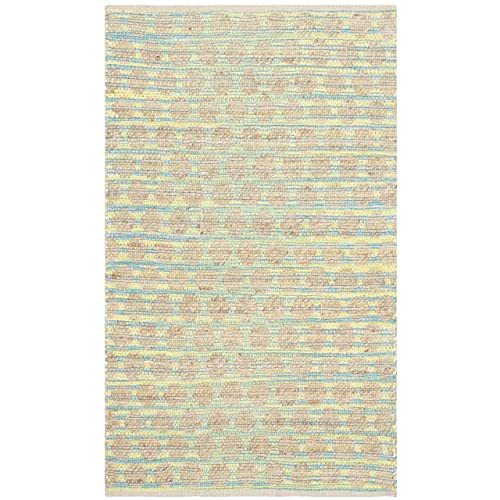 Safavieh Cape Cod Collection CAP820H Hand Woven Teal and Natural Jute and Cotton Area Rug 3 x 5