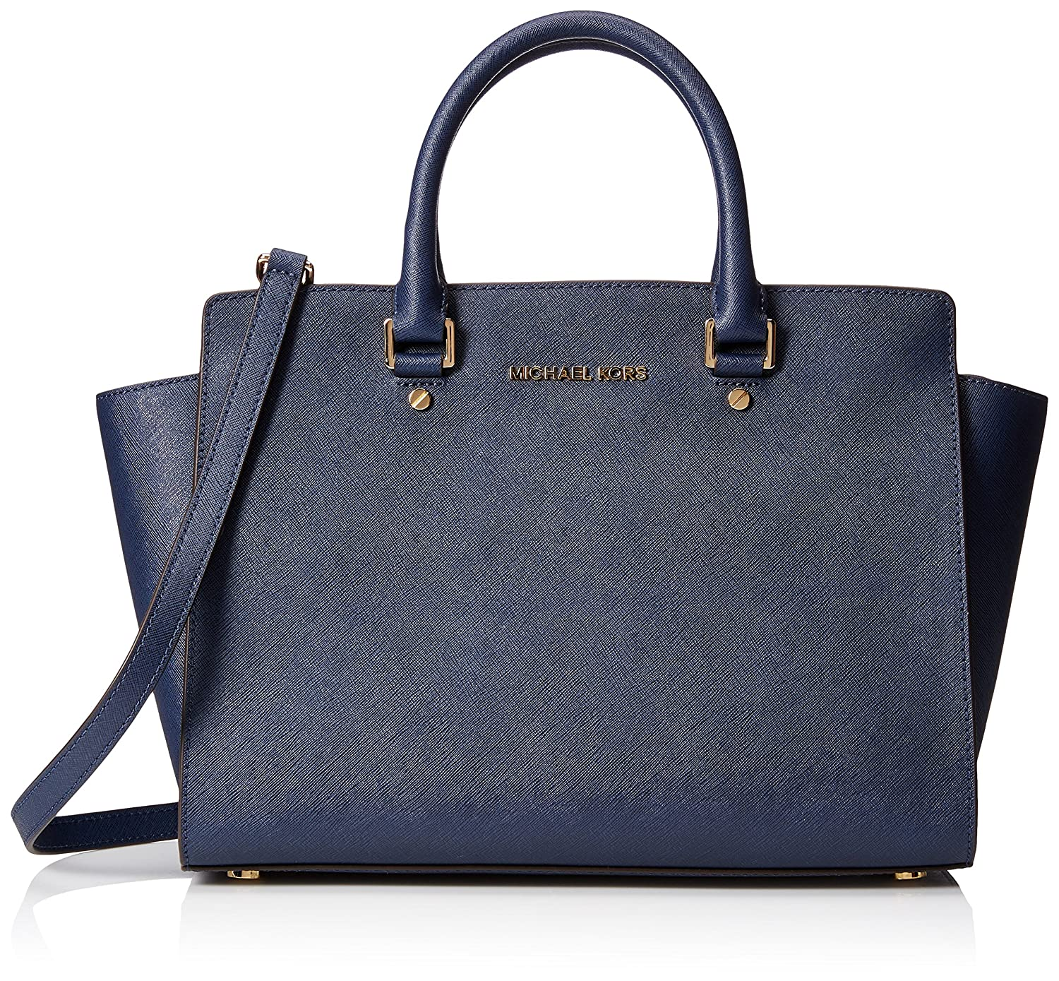 7799f9be5be3 Amazon.com: MICHAEL Michael Kors Women's Selma Large Trapeze Satchel, Navy:  Clothing
