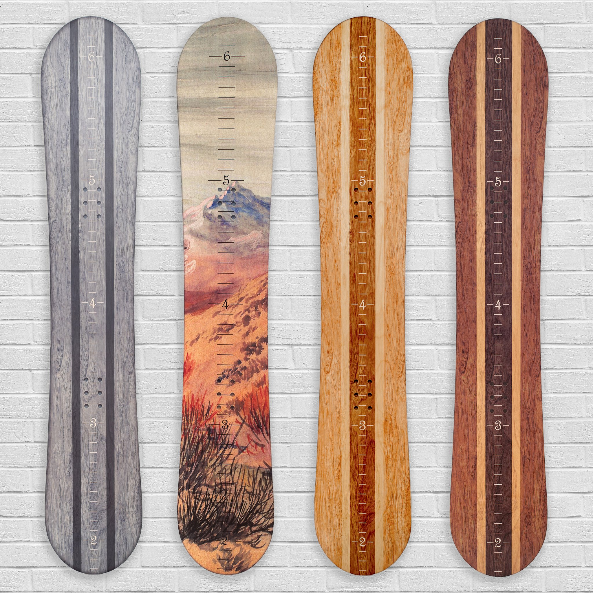 Growth Chart Art | Wooden Snowboard Height Chart for Kids, Boys, Girls for Measuring Height of Kids, Nursery Wall Decor | Baby Snowboard | Traditional Wood