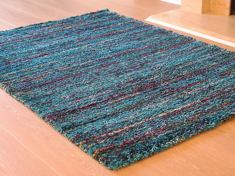 BUKHARA MULTI-COLOUR SOFT SHAGGY AREA RUG Blue Teal, 120x170cm -RUG218//160