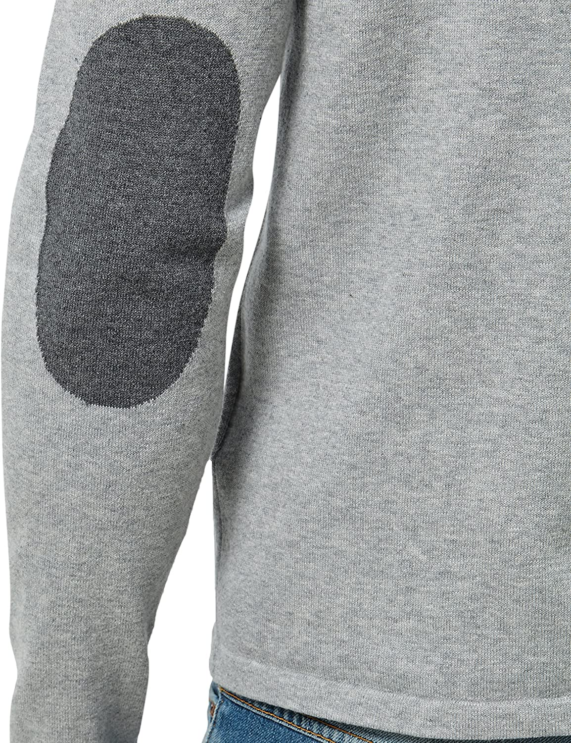 James Tyler Men's Jumper with Round Neckline, Button Placket and Contrasting Coloured Elbow Patches