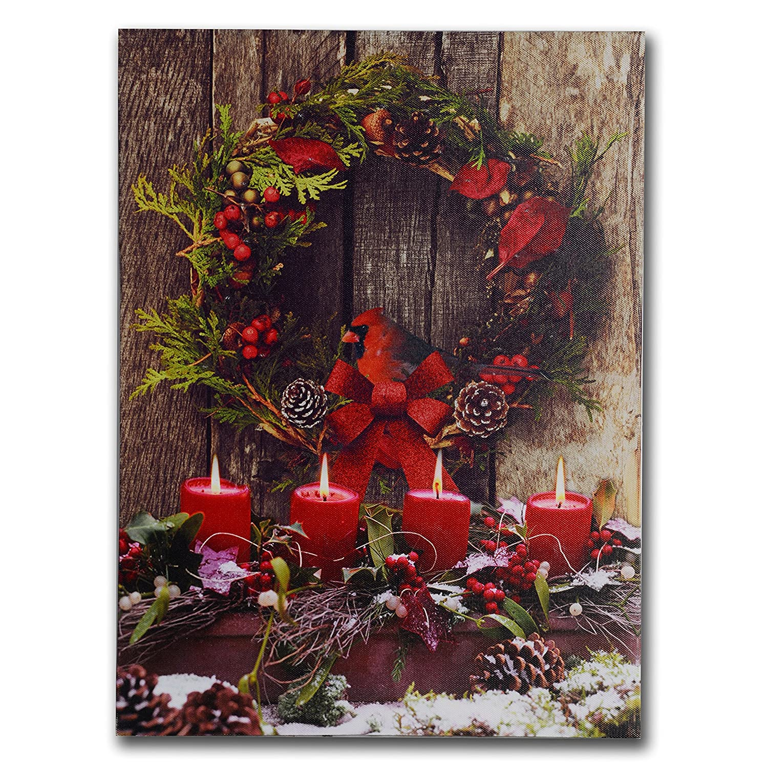 NIKKY HOME Corona de Navidad Home Art Prints de Pared Iluminado Decorativo LED Lienzo Impresiones