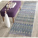 "Safavieh Valencia Collection VAL220M Purple and Multi Distressed Bohemian Silky Polyester Runner Rug (2'3"" x 8')"