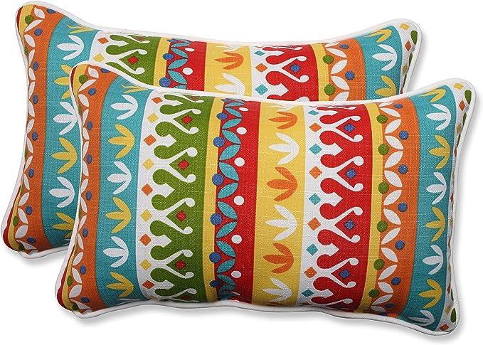 Amazon Com Pillow Perfect Outdoor Indoor Cotrell Garden Lumbar Pillows 11 5 X 18 5 Multicolored 2 Pack Home Kitchen