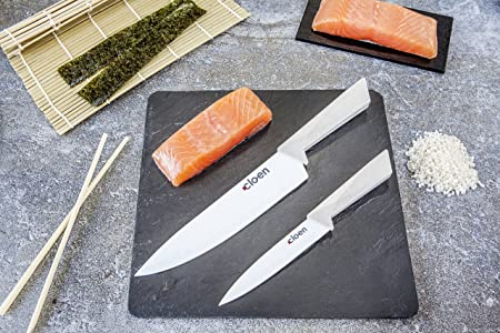 Set de 6 cuchillos con pelador de hoja cerámica. Modelo CLOEN CHEF. 5 cuchillos de acero inoxidable con recubrimiento antiadherente y 1 pelador con hoja cerámica.