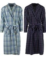 Mens 2 Pack Long Sleep Robe , Premium Cotton Blend Woven Lightweight Bathrobe