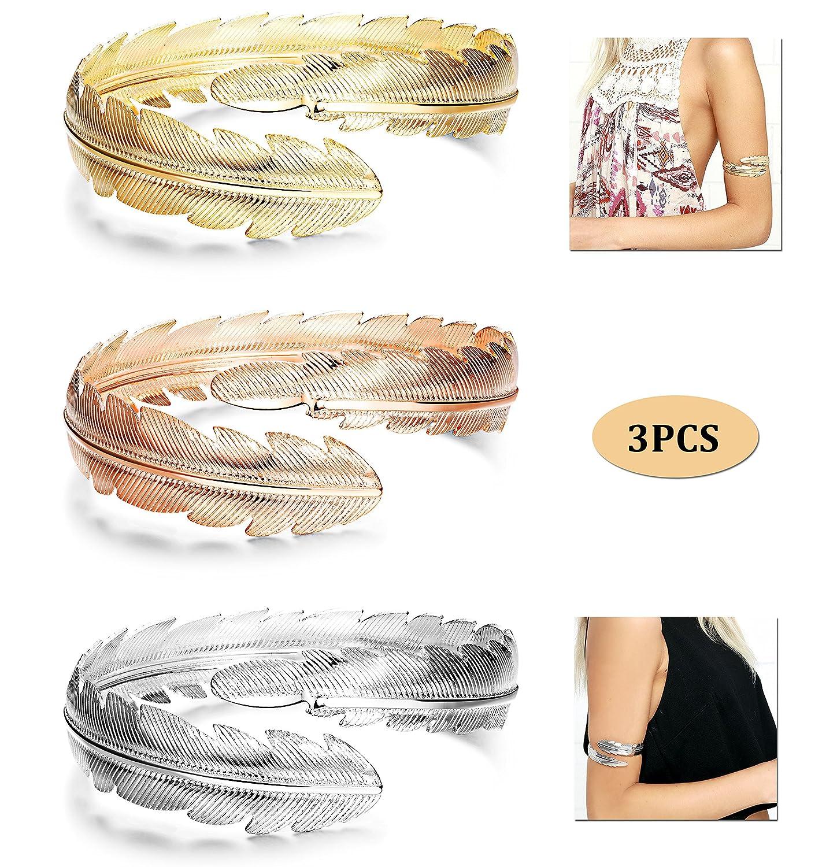 Finrezio 3Pcs Upper Arm Bracelet Cuff Bangle Bracelet Open Armlet Swirl Leaf Armband Jewelry Set B07DZZHJ6P_US