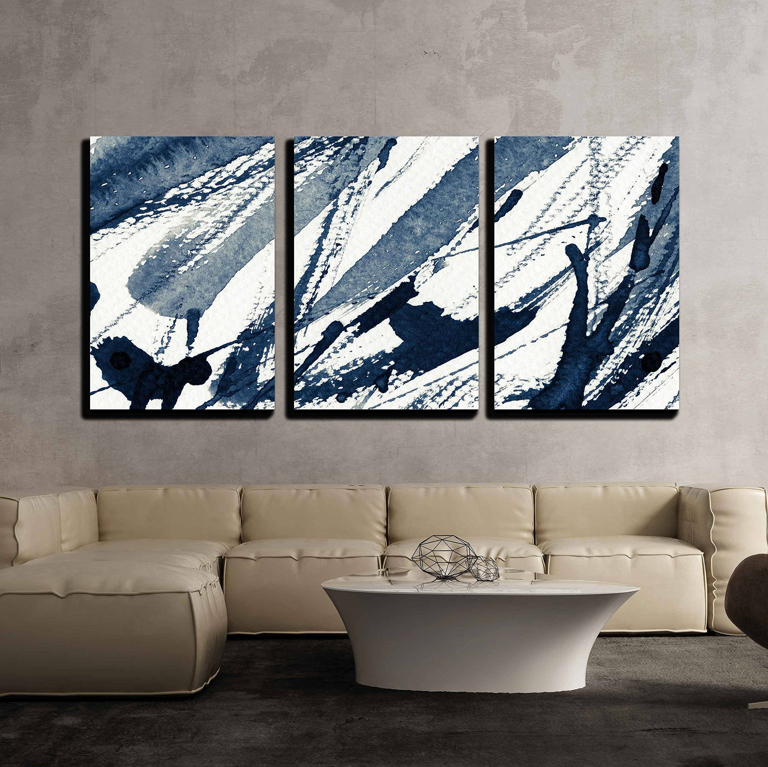 wall26 - 3 Piece Canvas Wall Art - Abstract Grunge Background, Ink Texture. - Modern Home Decor Stretched and Framed Ready to Hang - 24''x36''x3 Panels