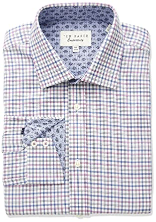 de50005700e04f Ted Baker Men s Welsh Endurance Dress Shirt Pink 17.5-32-33  Amazon ...