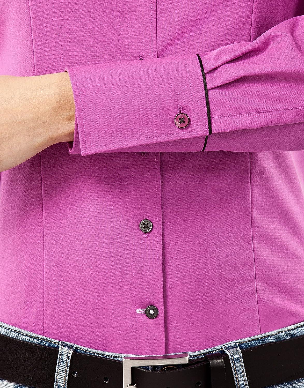 Non Stiro//Non-Iron Collo Classico Manica-Lunga in Tinta Unita con Inserti in Contrasto Vincenzo Boretti Camicia-Blusa Donna Elegante Taglio Abbastanza Aderente//Modern-Fit